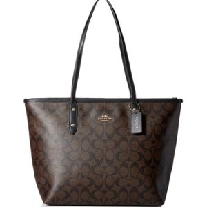 Coach Signature large zipper tote